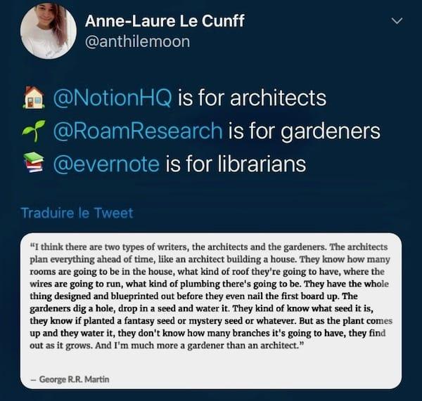 Notion Roam Evernote Application prise de notes