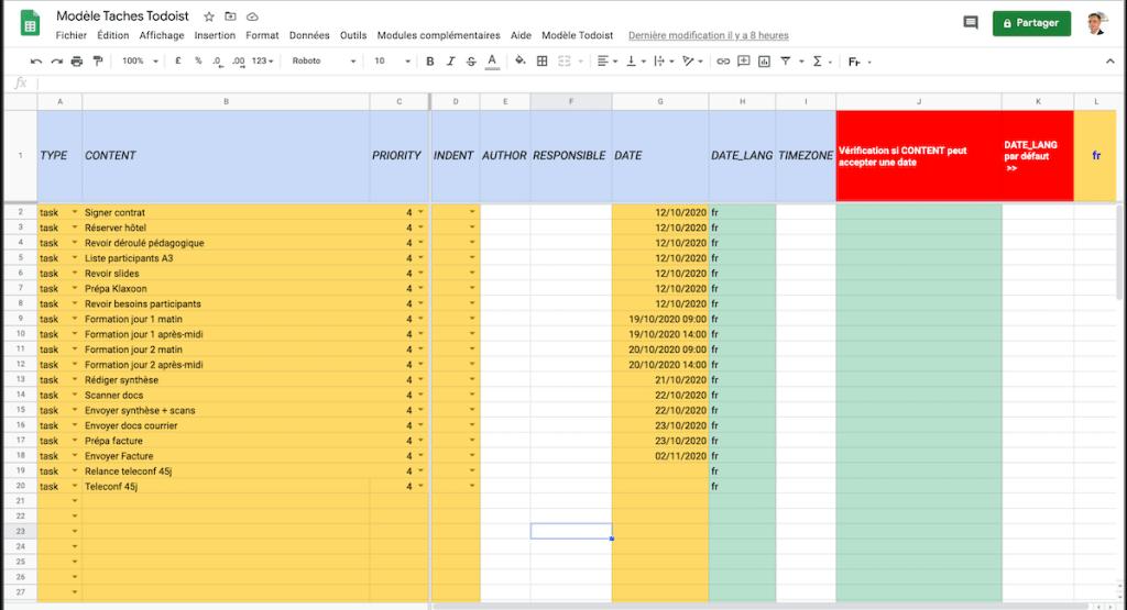 Google Sheets Modèle Projet formation