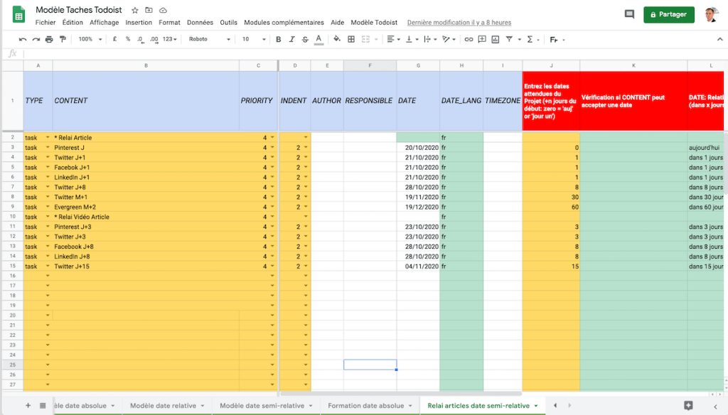 Google Sheets Modèle dates semi-relatives