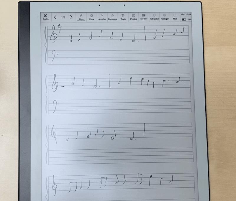 Bookeen Notéa écrire musique