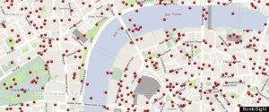 Carte Londres bombes