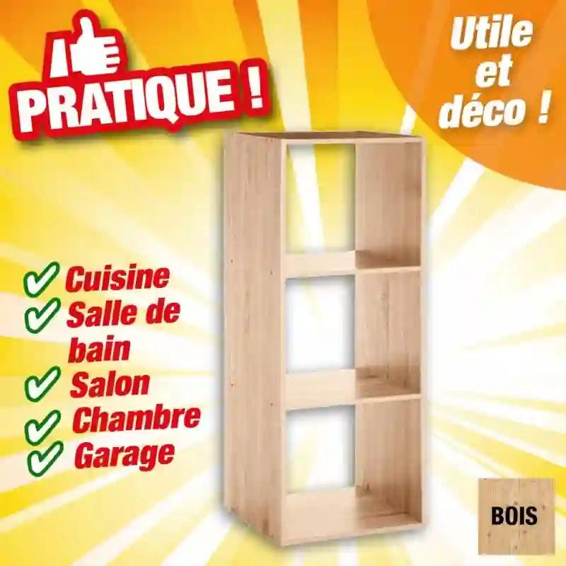 etageres 3 casiers couleur bois
