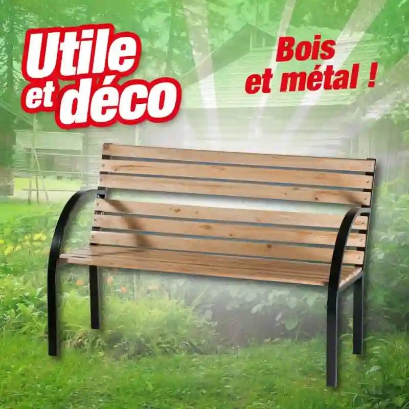 banc en bois et metal