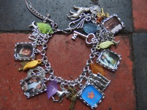 Outlander inspired charm bracelet 23 charms Jamie, Claire,Dragonfly in Amber