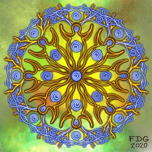 Painting by FDG: a mandala of alternating Deity figures