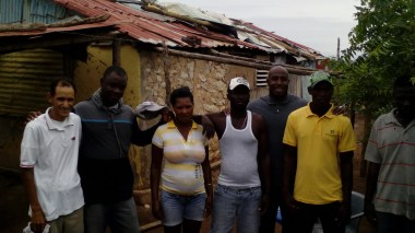 Missionary work in Los Cocos and Las Cuatro Bocas. The pastor and workers in the area Jeanel Mondelus, polo shirt with gray and black on the left, and Brandon Kennedy evangelism pastor of Cross Church, Arkansas, USA, right, with gray polo shirt. Pastor Ruddy Carrera left with white polo shirt.