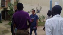 Evangelizing in a residential. Some attended church service.