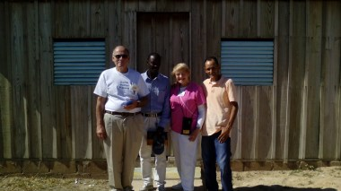 In the middle, blue shirt, PastorFrantzdy François, right pink doctor uniform, Dr. Gwen Edland, with Pastor Ruddy Carrera and Dr. Jerry Graham.