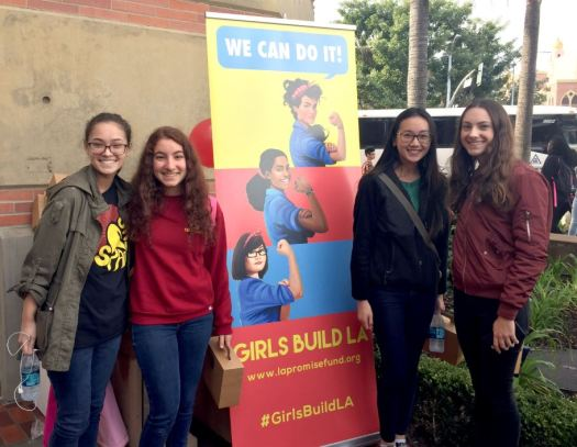 "Photo courtesy Katelyn Biesiadecki Katelyn Biesiadecki, Taleen Sarkissian, Hannah Chew and Charlotte Strasburg were among the 50 LCHS students who attended a special screening of ""Hidden Figures"" last week at USC."