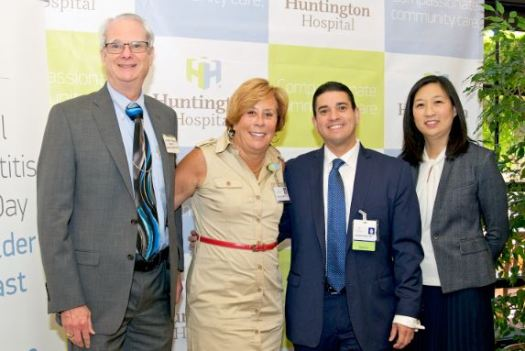 Photo courtesy Huntington Hospital Dr. Robert Kim-Farley, director of Communicable Disease Control and Prevention for the Los Angeles County Department of Public Health; Dr. Paula Verrette, senior vice president and chief medical officer in Quality and Physician Services at Huntington Hospital; Dr. Edward Mena of Huntington Hospital; and Dr. Ying-Ying Goh, health officer at the city of Pasadena Public Health Department, presented at the National Viral Hepatitis Testing Day Stakeholder Breakfast and Conference.