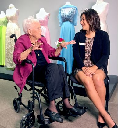 Photo courtesy Suzanne Ehrmann Longest living Rose Queen Margaret Huntley Main, crowned in 1940 and now age 96, meets 2018 Queen Isabella Marez at the Pasadena Museum of History's Royals of Pasadena exhibit, showcasing 100 years of elegance and tradition.