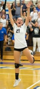 Photo courtesy Eric Danielson Madison Kaufman celebrates during one of the Titans' playoff matches.