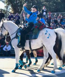 Photo courtesy Janet Lazier Katherine Lazier, 19, of La Cañada Flintridge, rides her horse California Blue in the Rose Parade. Lazier is a member of the Blue Shadows Mounted Drill Team, a nonprofit equestrian organization dedicated to teaching boys and girls ages 7-18 horsemanship, leadership, discipline and teamwork through the sport of mounted drill. Not shown in the picture is LCF resident and friend Hanna Alanizi, 19, who also participated in the parade. Both are freshmen at UC Santa Cruz.