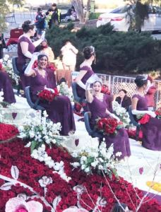 OUTLOOK photo La Cañada High senior Rucha Kadam and Flintridge Prep senior Helen Rossi, LCF residents selected to the Pasadena Tournament of Roses Royal Court, wave to the crowd at the beloved parade.