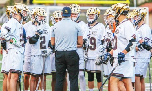 Photo courtesy John Petersen The St. Francis varsity boys' lacrosse team recently concluded its most historic regular season with a 7-7 record. The Golden Knights, guided by third-year head coach Jared Little, will compete in the Mission League tournament this Saturday.