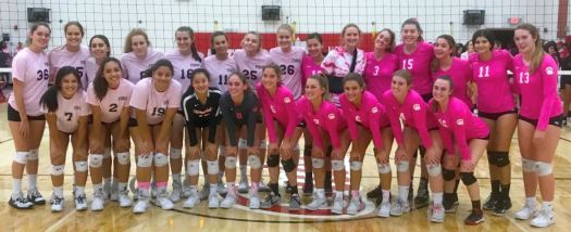 Flintridge Sacred Heart defeated host Mayfield Senior in a Dig for the Cure match that raised money for cancer research on Monday. The two teams include Abby Kim (front row, from left), Emma Willingham, Zoe Grace, Caitlin Du, Maddie Kaufman, Hayley Eaves, Ashlynn Hurley, Amelia Velasquez, Grace Brewer and Alex Lewis. Back: Ferryn Drake, Peyton Dejardin, Ivana Alejo, Ellie Lund, Katherine Collins, Tatum Anderson, Nikki Garriola, Emmie Barnard, Mariana Trujillo, Sarah Tupy, Sarah Smith, Evy Favretto, Kate Grinnell, Jessica Maalouf and Annelise Rising.