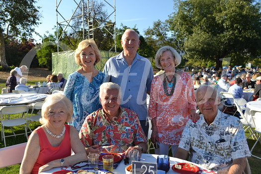 Ceil and Mort Mortimer (seated, from left) and Eldon Swanson. Back: Mardi and Cal Chamberlain and Nancy Swanson.