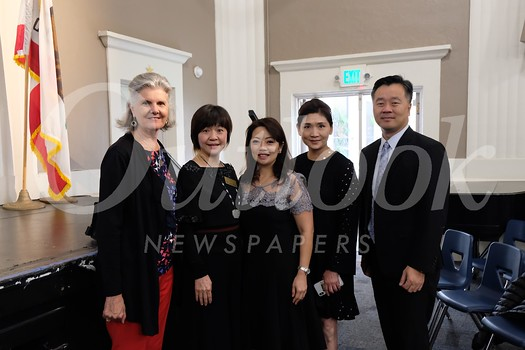 Huntington Middle School Assistant Principal Alana Faure, Chinese School board member Jenny Chiang, Chinese School Principal Shirley Lee, Chinese School board member Erica Chiang and Chinese Club President Alan Chen
