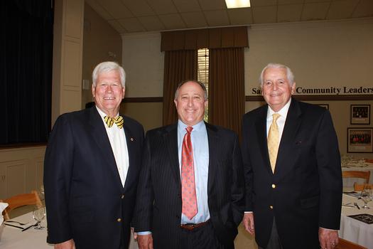 City Club President Dick Pearson, speaker Clifford Daniels and Jim Angelos