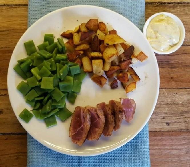 Eendenborstfilet met snijbonen en gebakken aardappelen