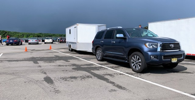 2019 Toyota Sequoia with enclosed trailer at Pitt Race