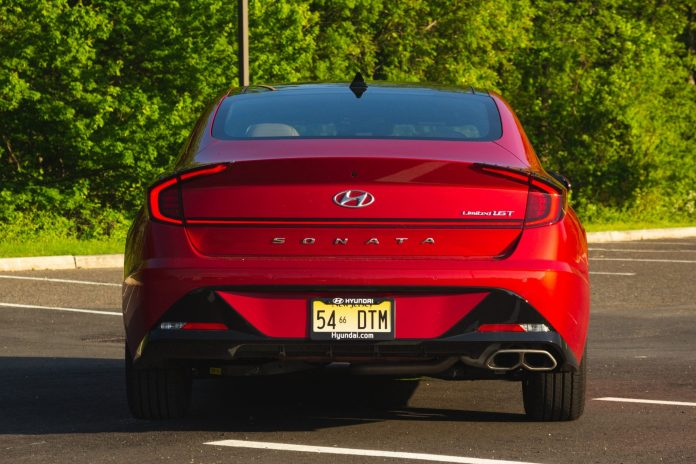 2020 Hyundai Sonata Limited red rear
