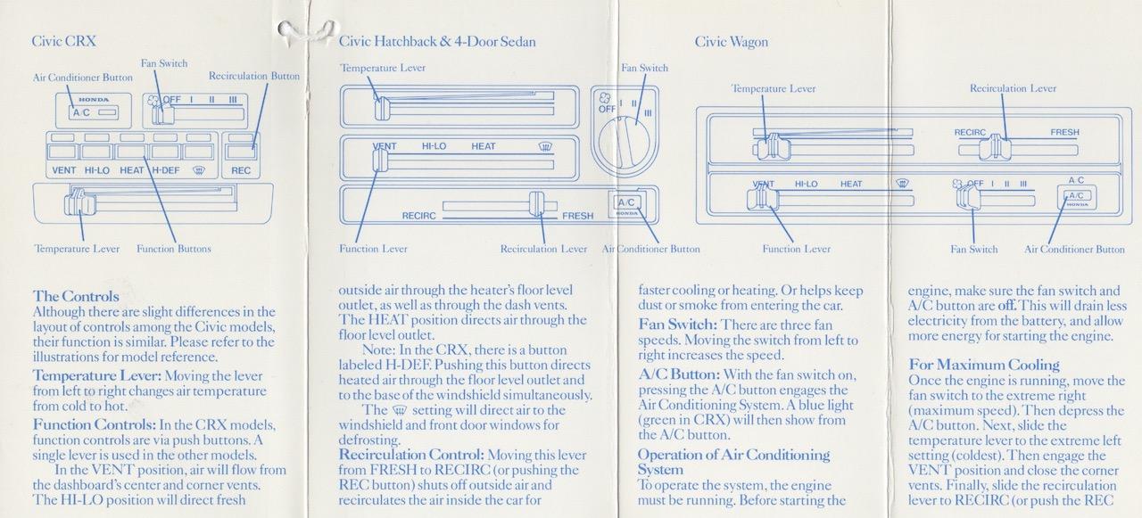 1985 Honda Civic air conditioner brochure inside