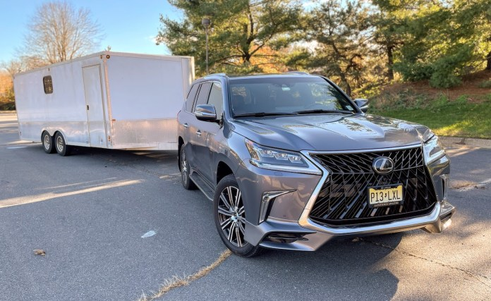 2020 Lexus LX570 towing enclosed trailer