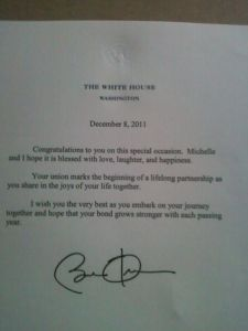 Obama sends congratulatory letter to gay newlyweds