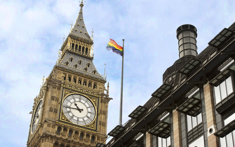 rainbow flag at Houses of Parliament