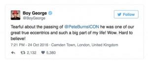 Pete Burns Boy George tribute