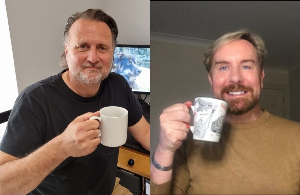 Gary Webster and Steven Smith have a cup of tea