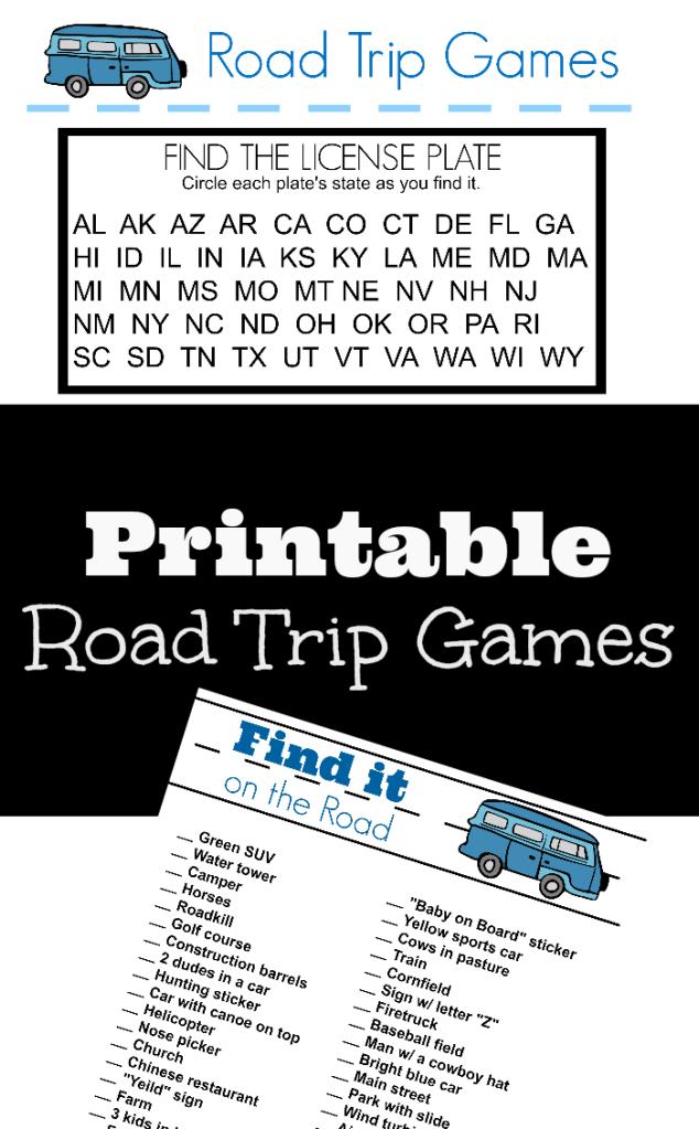 Printable Road Trip Games for Big Kids