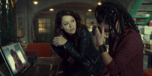 Tatiana Maslany expertly portrays three characters in the same scene.