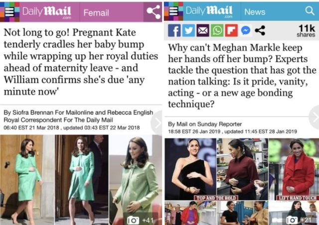 Daily Mail Meghan and Kate Bump articles