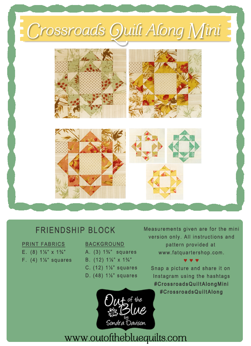 Crossroads Quilt Along Friendship Block │ Out of the Blue Quilts by Sondra Davison