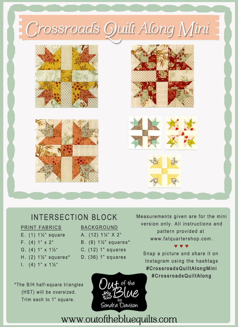 Crossroads Quilt Along Mini Intersection Block 5 │ Out of the Blue Quilts by Sondra Davison