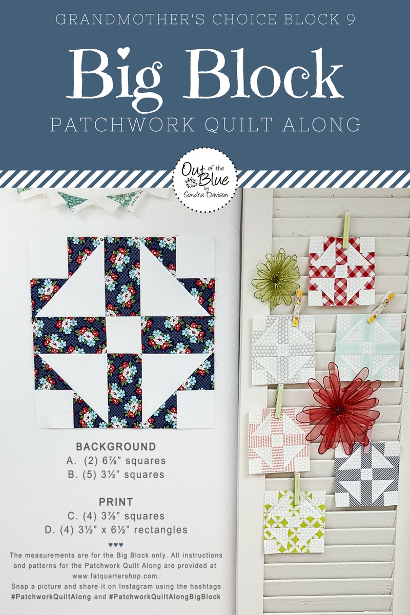 PWQAL Big Block 9 │ Out of the Blue Quilts by Sondra Davison
