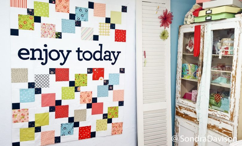Enjoy Today quilt coming together in the sewing room