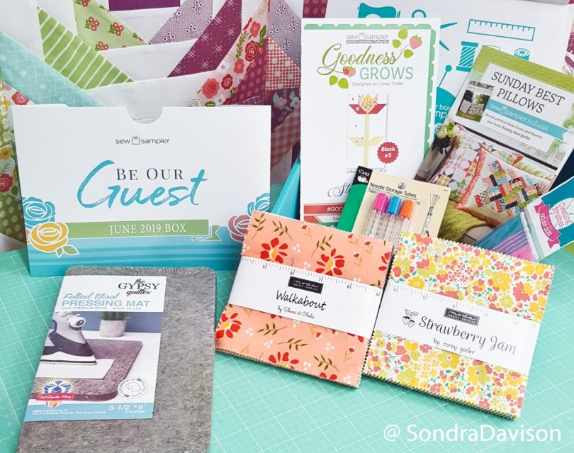 contents of the FQS June 2019 Sew Sampler box