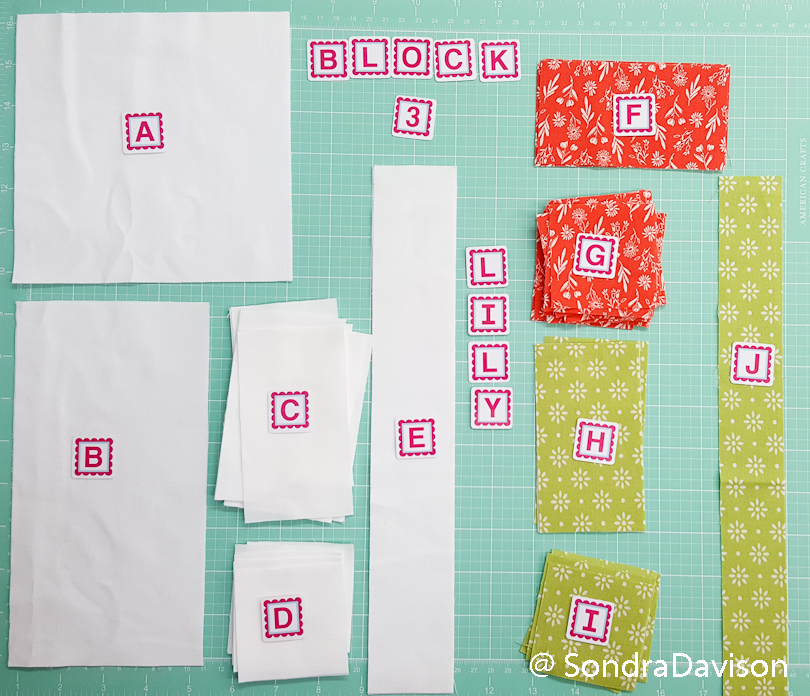 quilt block cutting and assembly using alphabitties