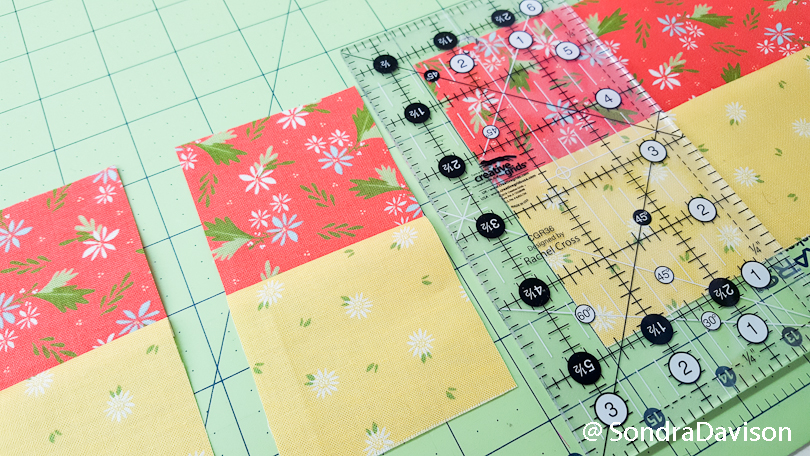 strip piecing to make a 4-patch quilt block