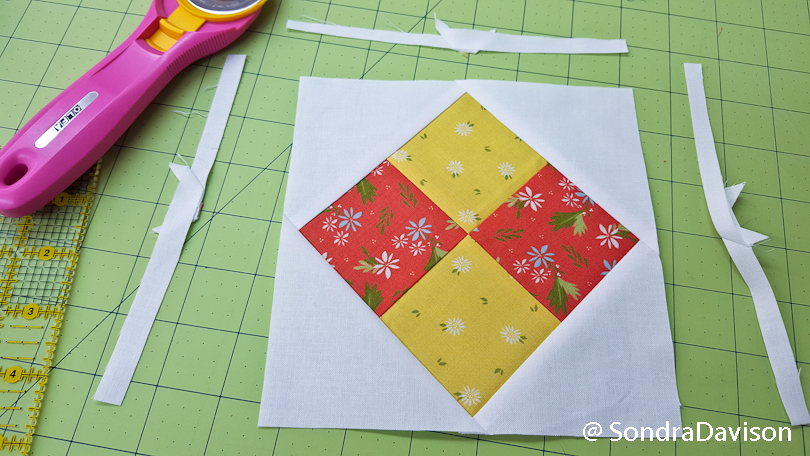 trimming a square in a square quilt block