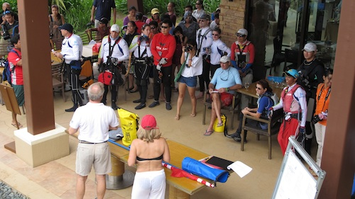 Racers Briefing at the Beach Club