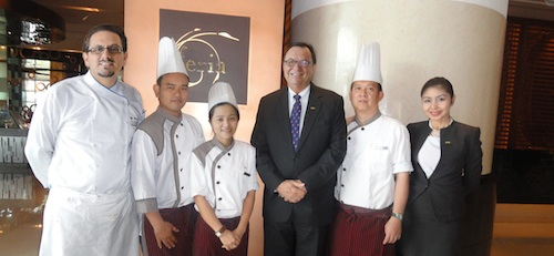 Thai Chefs with GM Lyle Lewis, Executive Chef Marco Amarone and Assistant Director for Marketing Communications Mina Gervacio