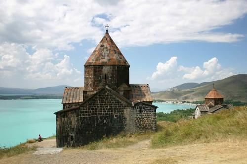 Medieval church on Sevan lake