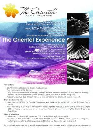 The Oriental Getaway Facebook Contest