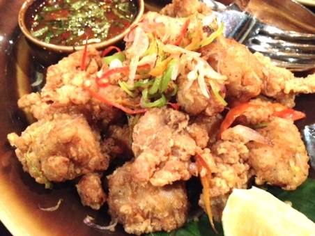 Crispy Boneless Chicken wings with spicy ginger sauce