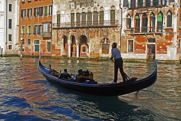 Gondola Tour In Canal Grande Venice Italy