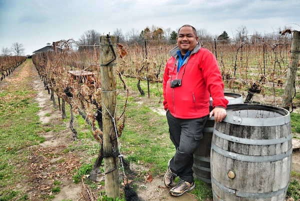 Melo Villareal at the vineyard